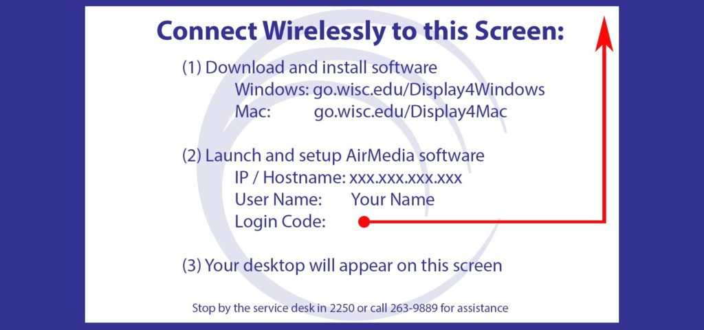 Instruction slide template for the splash screen of the AirMedia when no devices are connected